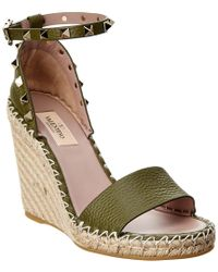 Valentino - Green Rockstud Leather Wedge Espadrilles - Lyst