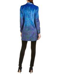 Elie Tahari - Blue Leather-trim Coat - Lyst
