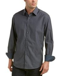 Robert Graham Gray Lino Lakes Classic Fit Woven Shirt for men