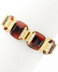 Sparkling Sage - Metallic 14k Plated Crystal & Resin Stretch Bracelet - Lyst