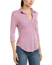 James Perse Purple Contrast Panel Shirt