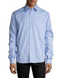 MSGM Blue Stiped Sportshirt for men