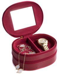 Bey-berk Red Leather Lizard 2-level Jewelry Case