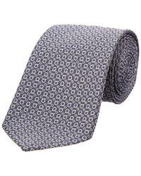 Ferragamo - Gray Grey Gancio Silk Tie for Men - Lyst