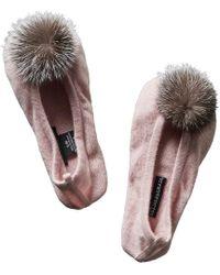 Sofia Cashmere Pink Sofiacashmere Pompom Cashmere Slipper