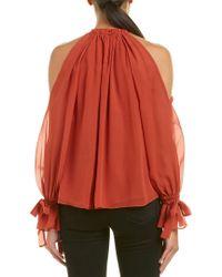 BCBGMAXAZRIA Red Fatima Cold-shoulder Halter Top