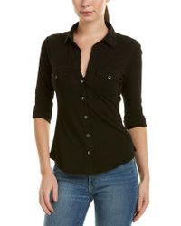 James Perse Black Contrast Panel Shirt