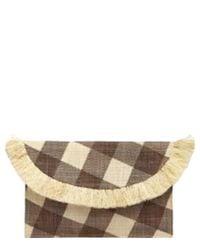 Kayu Brown Gingham Raffia Envelope Clutch