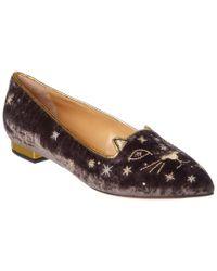 Charlotte Olympia Brown Mid-century Velvet Kitty Flat