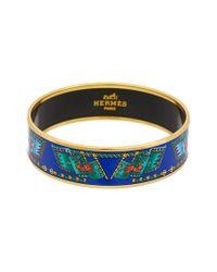 Hermès Blue Gold-plated & Printed Enamel Wide Bangle