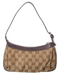 Gucci Natural Beige Gg Supreme Canvas & Leather Pochette