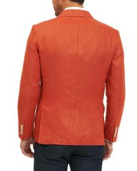 Robert Graham Orange Classic Fit Papua Linen Sportscoat for men