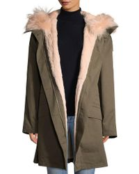 Yves Salomon Green Army By Hooded Coat