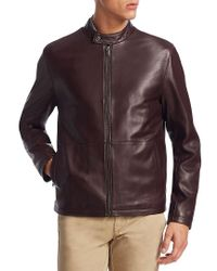 Saks Fifth Avenue - Brown Collection Zip Leather Bomber Jacket for Men - Lyst