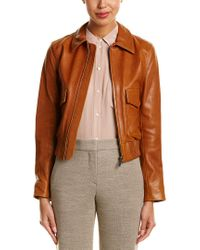 Helmut Lang Brown Silk-trim Tumbled Leather Jacket