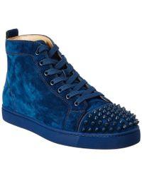 Christian Louboutin Blue Louis Spike Suede High Top Sneaker
