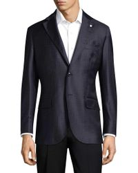 Lubiam Blue Checkered Wool Sports Jacket for men