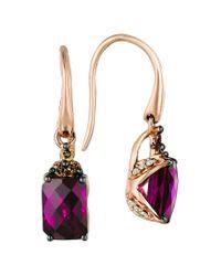 Le Vian Multicolor ? Chocolatier? 14k Strawberry Gold? 2.40 Ct. Tw. Diamond & Rhodolite Earrings