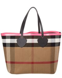 3b500164bb Burberry. Women's Giant Reversible Canvas Check & Leather Tote