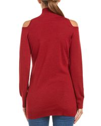 Three Dots Red Cold-shoulder Wool Sweater