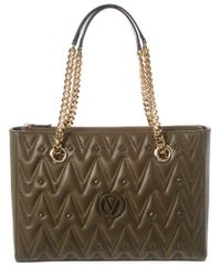 Valentino By Mario Valentino Green Floralie D Sauvage Studs Leather Tote