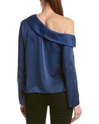 Lea & Viola Blue Satin One-shoulder Top