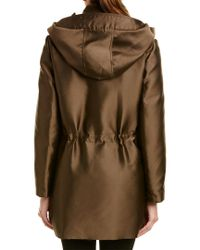 Moncler Green Gamme Rouge Marrube Silk-blend Parka Coat