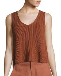 Vince Brown Solid Ribbed Tank