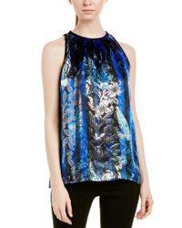 Elie Tahari Blue Silk-blend Blouse