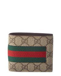 Gucci Brown 'GG Supreme' Canvas Wallet for men