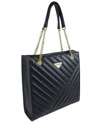 Ellen Tracy Black Quilted Shopper Tote