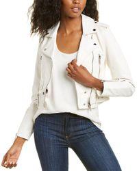 LTH JKT White Mya Cropped Leather Biker Jacket