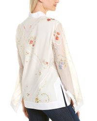 Tory Burch White Handkerchief Embroidered Tunic