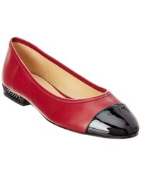 Michael Kors Red Michael Sabrina Leather Ballet Flat