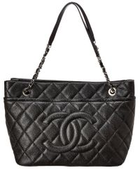 Chanel Black Quilted Soft Caviar Leather Large Timeless Shoulder Bag
