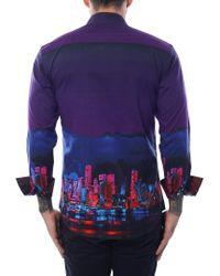 Bertigo Purple Miami Skyline Graphic Print for men