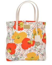 Trina Turk Red Canvas Slouchy Tote