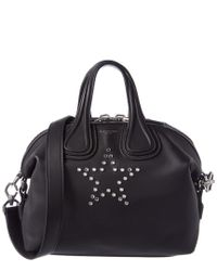 Givenchy Black Nightingale Small Star Embellished Leather Satchel