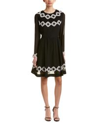 Ted Baker Black Embroidered A-line Dress