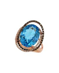 Effy - Blue Fine Jewelry 14k Rose Gold 11.47 Ct. Tw. White & Brown Diamond & Topaz Ring - Lyst