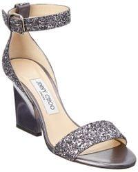 Jimmy Choo Gray Edina 85 Coarse Glitter Sandal