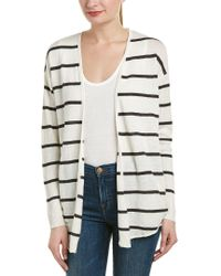 Chaser White Ribbed Sleeve Linen Cardigan