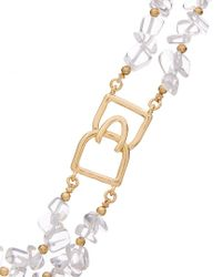 Kenneth Jay Lane Metallic 22k Plated Glass Crystal Necklace