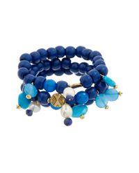 Alanna Bess Blue 14k Over Silver Gemstone 5-7mm Pearl Set Of 3 Adjustable Bracelets