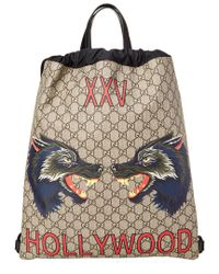 Lyst - Gucci Gg Supreme Hollywood Print Drawstring Backpack for Men 323b608639