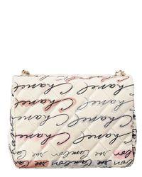 Chanel - White Canvas Mini Flap Bag - Lyst