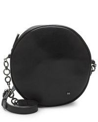 Halston Heritage Black Circle Leather Shoulder Bag