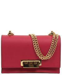 Zac Zac Posen Red Earthette Small Chain Leather Shoulder Bag