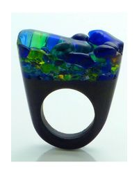 Pasionae - Blue Murano Ring Opaque Base - Delight - Lyst