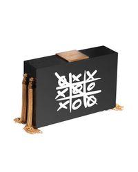 Eshvi | Black Xoxo Tassel Clutch Bag | Lyst